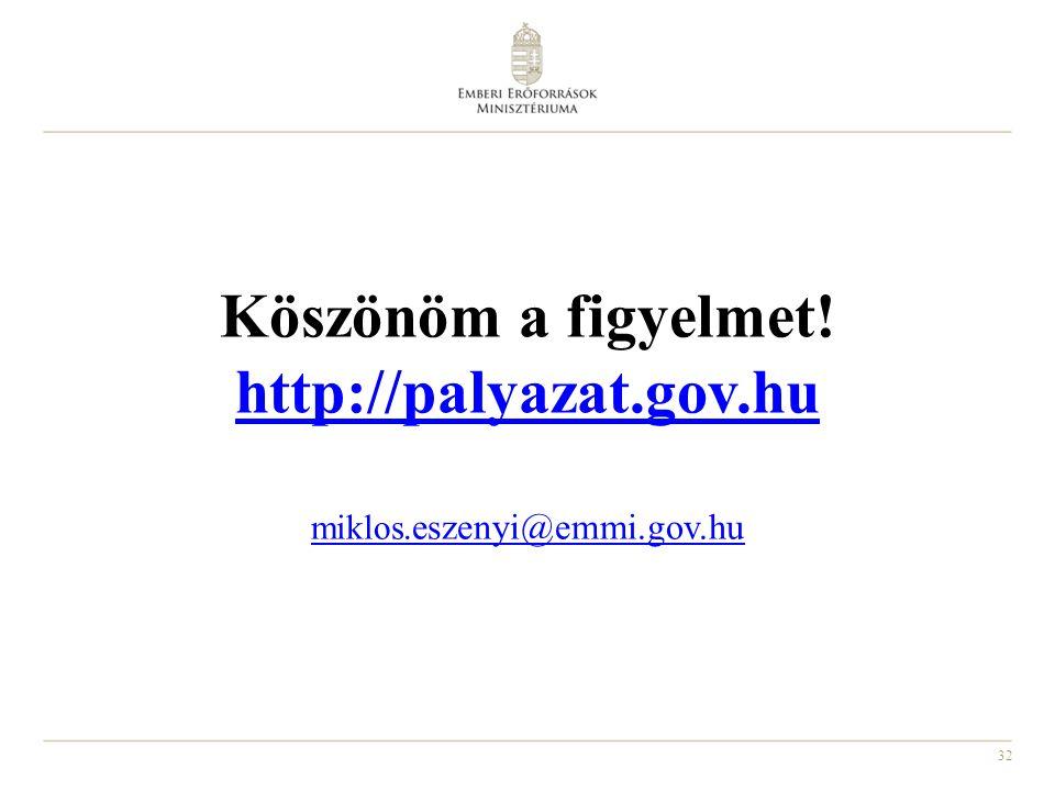 32 Köszönöm a figyelmet! http://palyazat.gov.hu miklos. eszenyi@emmi.gov.hu http://palyazat.gov.hu miklos. eszenyi@emmi.gov.hu