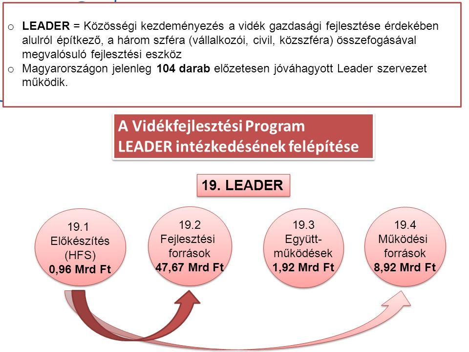 A Vidékfejlesztési Program LEADER intézkedésének felépítése A Vidékfejlesztési Program LEADER intézkedésének felépítése 19.