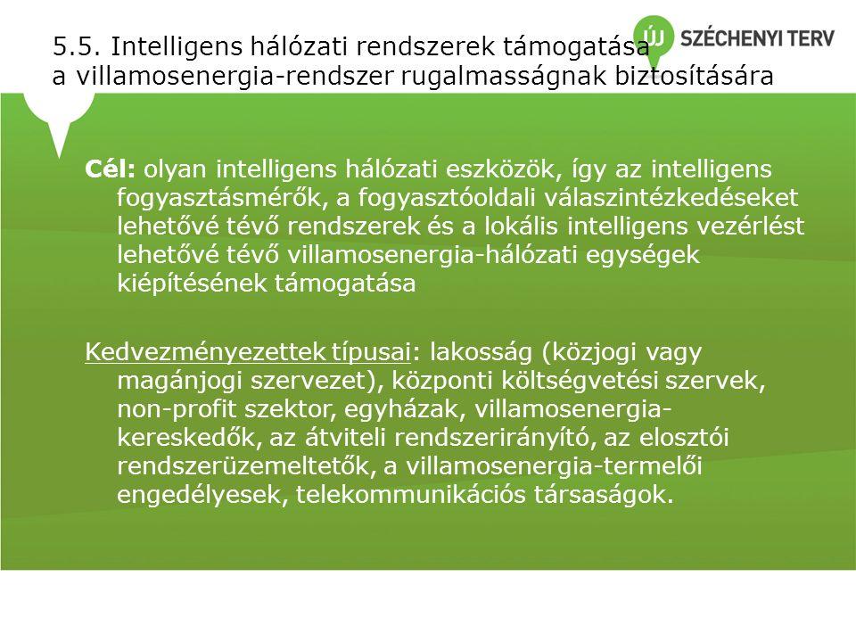 5.5. Intelligens hálózati rendszerek támogatása a villamosenergia-rendszer rugalmasságnak biztosítására Cél: olyan intelligens hálózati eszközök, így