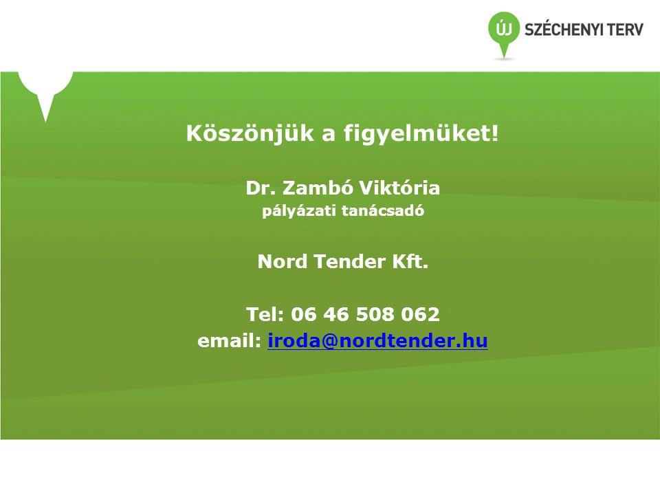 Köszönjük a figyelmüket! Dr. Zambó Viktória pályázati tanácsadó Nord Tender Kft. Tel: 06 46 508 062 email: iroda@nordtender.huiroda@nordtender.hu