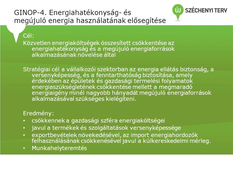 GINOP-4. Energiahatékonyság- és megújuló energia használatának elősegítése Cél: Közvetlen energiaköltségek összesített csökkentése az energiahatékonys