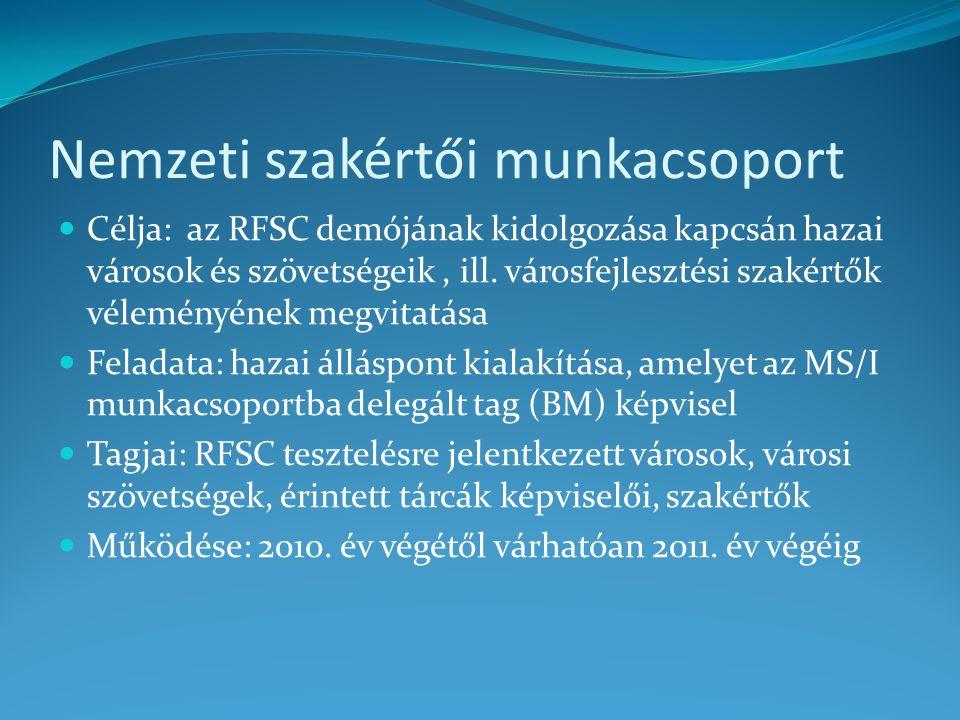 Nemzeti szakértői munkacsoport Célja: az RFSC demójának kidolgozása kapcsán hazai városok és szövetségeik, ill.