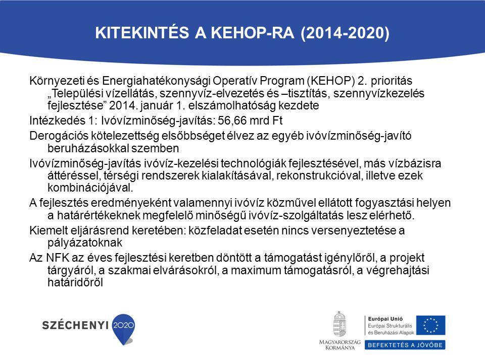 """KITEKINTÉS A KEHOP-RA (2014-2020) Környezeti és Energiahatékonysági Operatív Program (KEHOP) 2. prioritás """"Települési vízellátás, szennyvíz-elvezetés"""