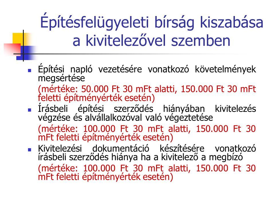 Építésfelügyeleti bírság kiszabása a kivitelezővel szemben Építési napló vezetésére vonatkozó követelmények megsértése (mértéke: 50.000 Ft 30 mFt alatti, 150.000 Ft 30 mFt feletti építményérték esetén) Írásbeli építési szerződés hiányában kivitelezés végzése és alvállalkozóval való végeztetése (mértéke: 100.000 Ft 30 mFt alatti, 150.000 Ft 30 mFt feletti építményérték esetén) Kivitelezési dokumentáció készítésére vonatkozó írásbeli szerződés hiánya ha a kivitelező a megbízó (mértéke: 100.000 Ft 30 mFt alatti, 150.000 Ft 30 mFt feletti építményérték esetén)