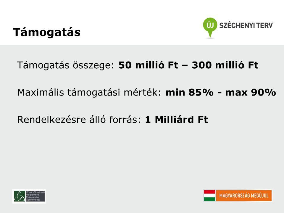 Támogatás összege: 50 millió Ft – 300 millió Ft Maximális támogatási mérték: min 85% - max 90% Rendelkezésre álló forrás: 1 Milliárd Ft Támogatás