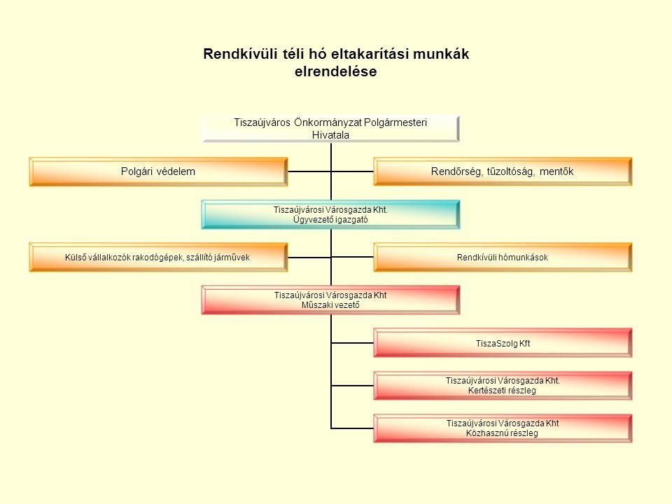 Téli hó-és csúszásmentesítési munkák elrendelése munkaszüneti napokon és munkaidőn kívül Tisza Janus Kft.