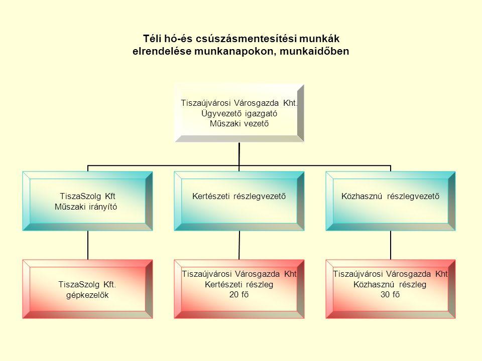 Rendkívüli téli hó eltakarítási munkák elrendelése Tiszaújváros Önkormányzat Polgármesteri Hivatala Tiszaújvárosi Városgazda Kht.