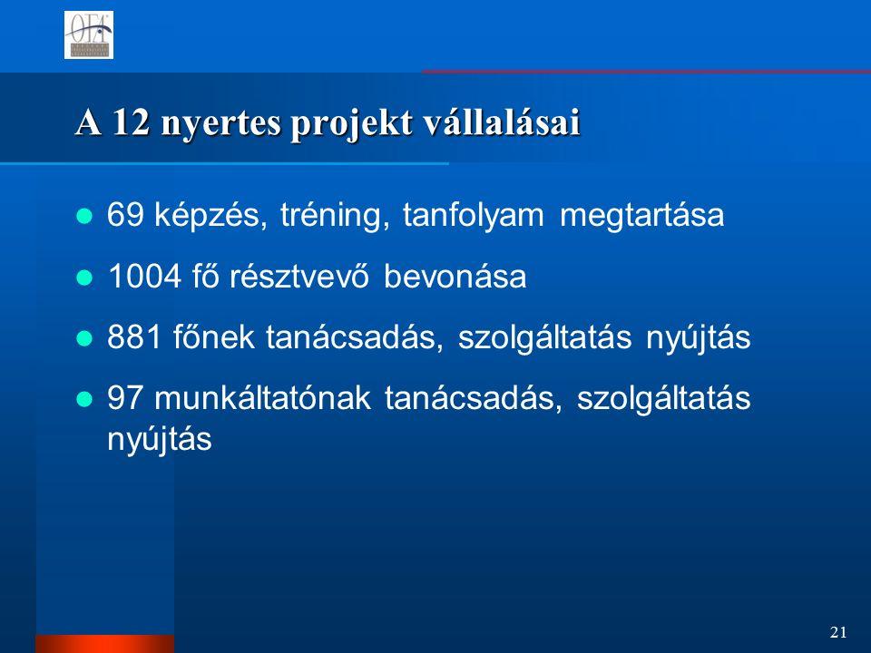 21 A 12 nyertes projekt vállalásai 69 képzés, tréning, tanfolyam megtartása 1004 fő résztvevő bevonása 881 főnek tanácsadás, szolgáltatás nyújtás 97 munkáltatónak tanácsadás, szolgáltatás nyújtás
