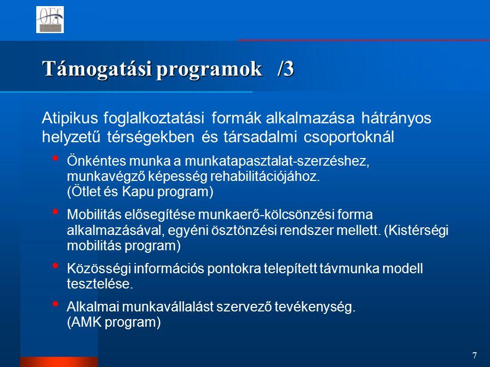 7 Támogatási programok /3 Atipikus foglalkoztatási formák alkalmazása hátrányos helyzetű térségekben és társadalmi csoportoknál Önkéntes munka a munkatapasztalat-szerzéshez, munkavégző képesség rehabilitációjához.