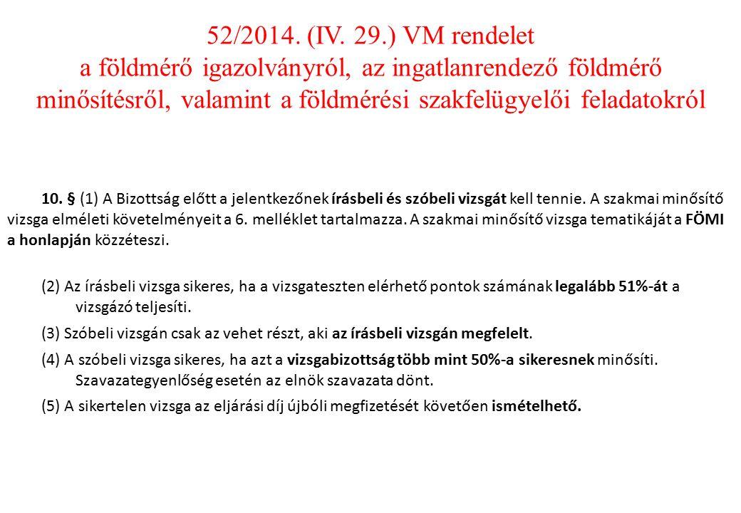 10.§ (1) A Bizottság előtt a jelentkezőnek írásbeli és szóbeli vizsgát kell tennie.