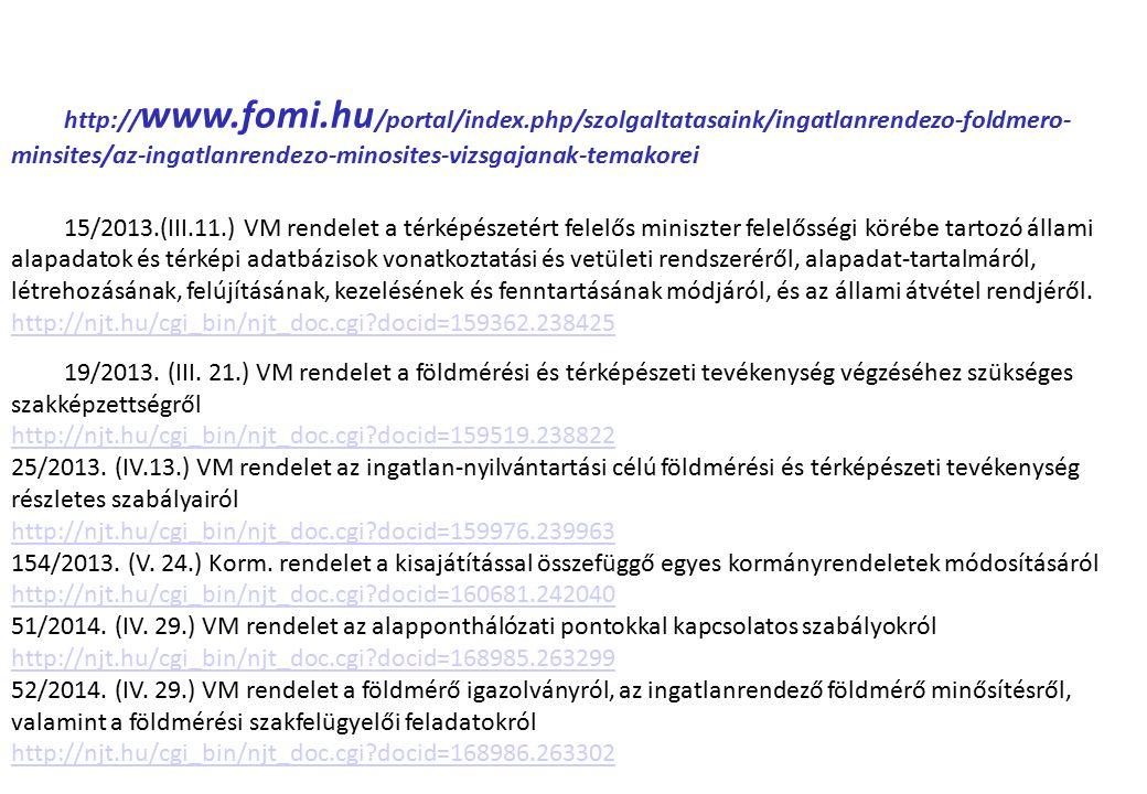 http:// www.fomi.hu /portal/index.php/szolgaltatasaink/ingatlanrendezo-foldmero- minsites/az-ingatlanrendezo-minosites-vizsgajanak-temakorei 15/2013.(III.11.) VM rendelet a térképészetért felelős miniszter felelősségi körébe tartozó állami alapadatok és térképi adatbázisok vonatkoztatási és vetületi rendszeréről, alapadat-tartalmáról, létrehozásának, felújításának, kezelésének és fenntartásának módjáról, és az állami átvétel rendjéről.
