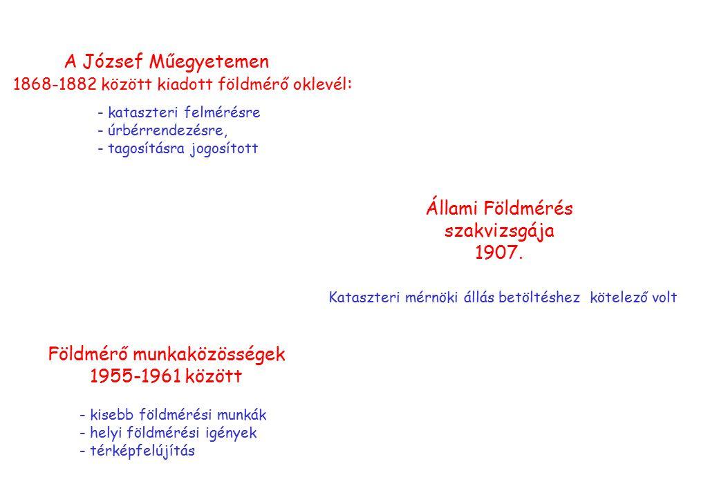 A József Műegyetemen 1868-1882 között kiadott földmérő oklevél : - kataszteri felmérésre - úrbérrendezésre, - tagosításra jogosított Állami Földmérés szakvizsgája 1907.