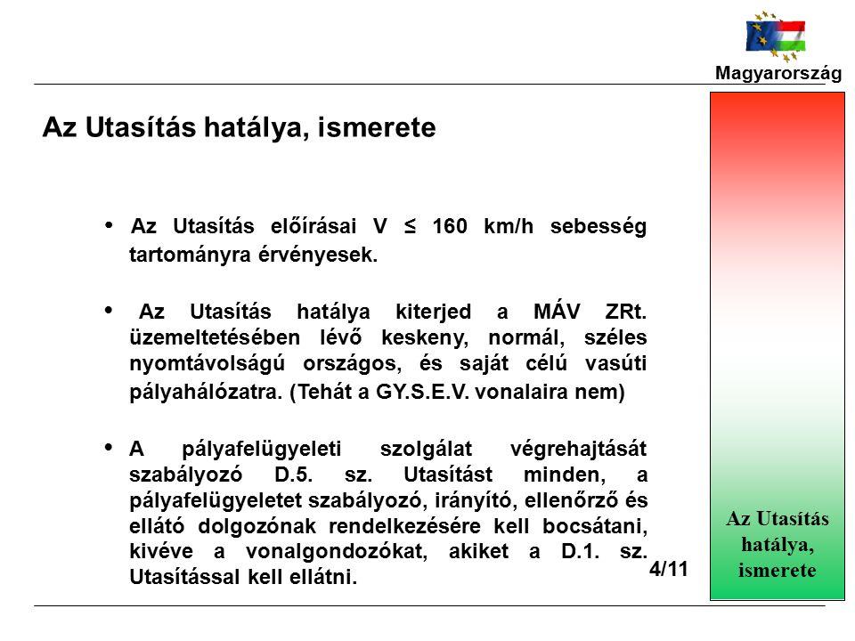 Magyarország Az Utasítás hatálya, ismerete Az Utasítás előírásai V ≤ 160 km/h sebesség tartományra érvényesek.