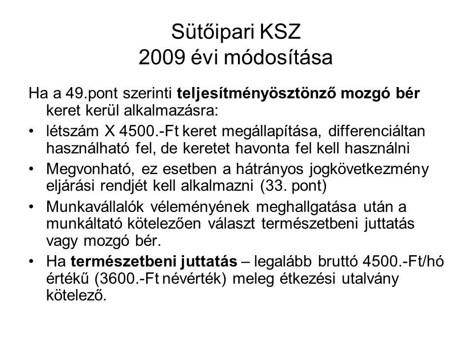 Sütőipari KSZ 2009 évi módosítása Ha a 49.pont szerinti teljesítményösztönző mozgó bér keret kerül alkalmazásra: létszám X 4500.-Ft keret megállapítása, differenciáltan használható fel, de keretet havonta fel kell használni Megvonható, ez esetben a hátrányos jogkövetkezmény eljárási rendjét kell alkalmazni (33.