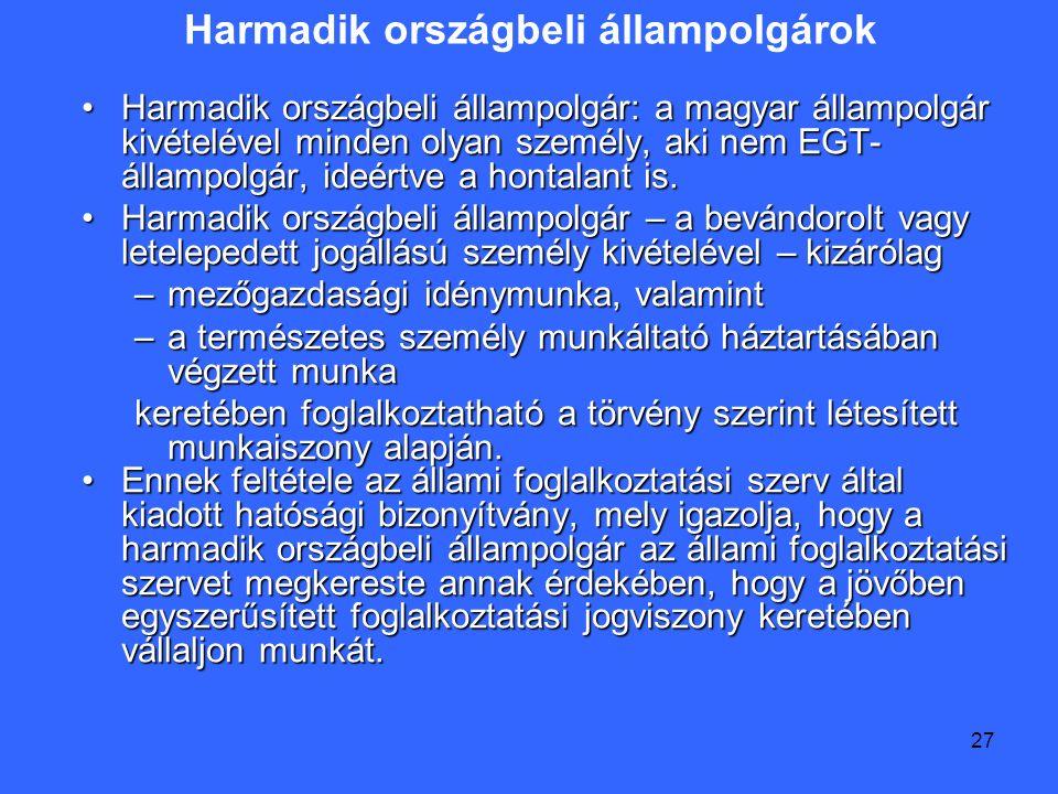 27 Harmadik országbeli állampolgárok Harmadik országbeli állampolgár: a magyar állampolgár kivételével minden olyan személy, aki nem EGT- állampolgár, ideértve a hontalant is.Harmadik országbeli állampolgár: a magyar állampolgár kivételével minden olyan személy, aki nem EGT- állampolgár, ideértve a hontalant is.