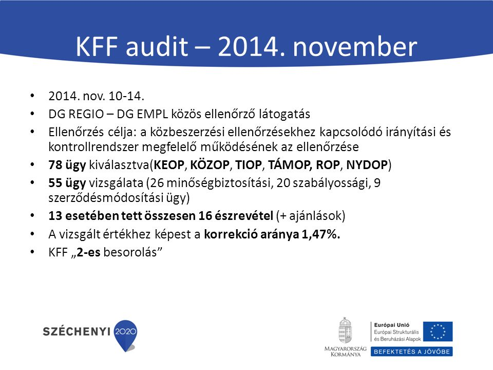 KFF audit – 2014. november 2014. nov. 10-14.