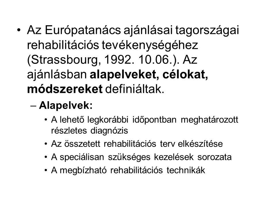 Az Európatanács ajánlásai tagországai rehabilitációs tevékenységéhez (Strassbourg, 1992.