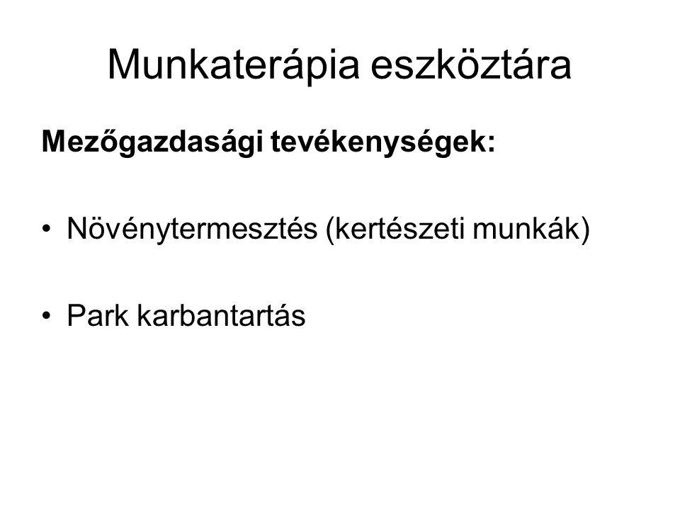 Munkaterápia eszköztára Mezőgazdasági tevékenységek: Növénytermesztés (kertészeti munkák) Park karbantartás