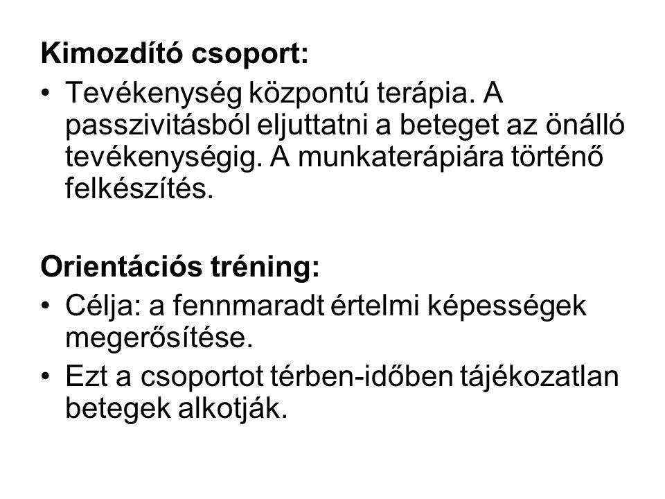 Kimozdító csoport: Tevékenység központú terápia.