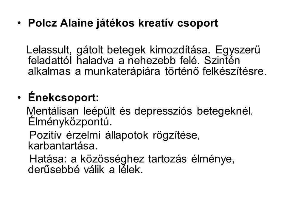 Polcz Alaine játékos kreatív csoport Lelassult, gátolt betegek kimozdítása.
