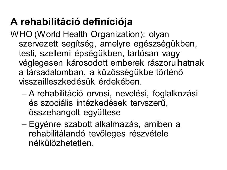 A rehabilitáció definíciója WHO (World Health Organization): olyan szervezett segítség, amelyre egészségükben, testi, szellemi épségükben, tartósan vagy véglegesen károsodott emberek rászorulhatnak a társadalomban, a közösségükbe történő visszailleszkedésük érdekében.