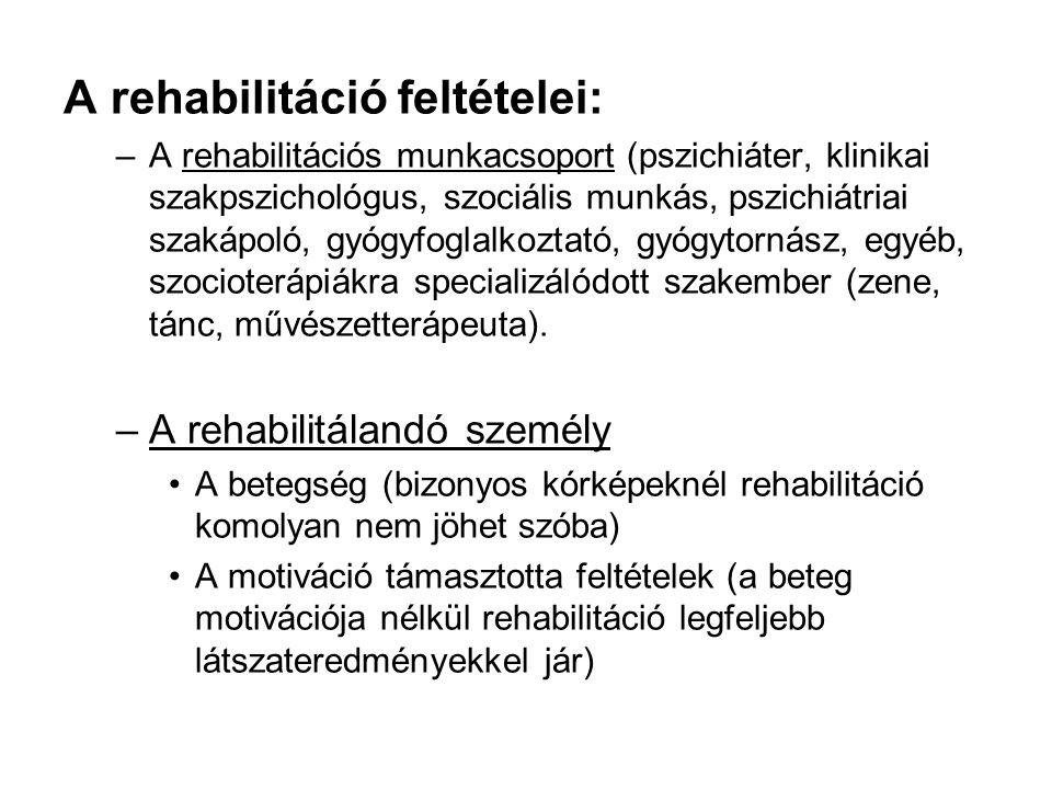 A rehabilitáció feltételei: –A rehabilitációs munkacsoport (pszichiáter, klinikai szakpszichológus, szociális munkás, pszichiátriai szakápoló, gyógyfoglalkoztató, gyógytornász, egyéb, szocioterápiákra specializálódott szakember (zene, tánc, művészetterápeuta).