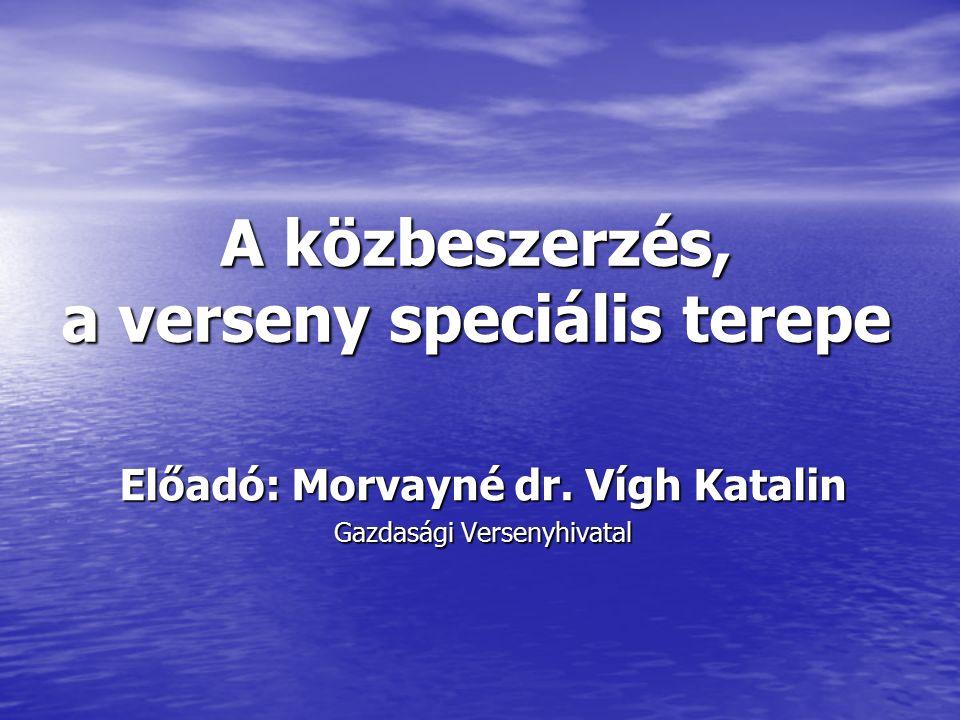 A közbeszerzés, a verseny speciális terepe Előadó: Morvayné dr.