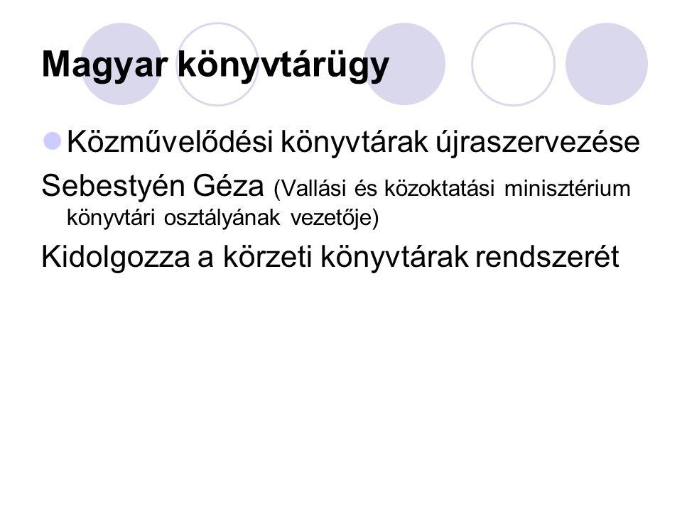 Magyar könyvtárügy Közművelődési könyvtárak újraszervezése Sebestyén Géza (Vallási és közoktatási minisztérium könyvtári osztályának vezetője) Kidolgo