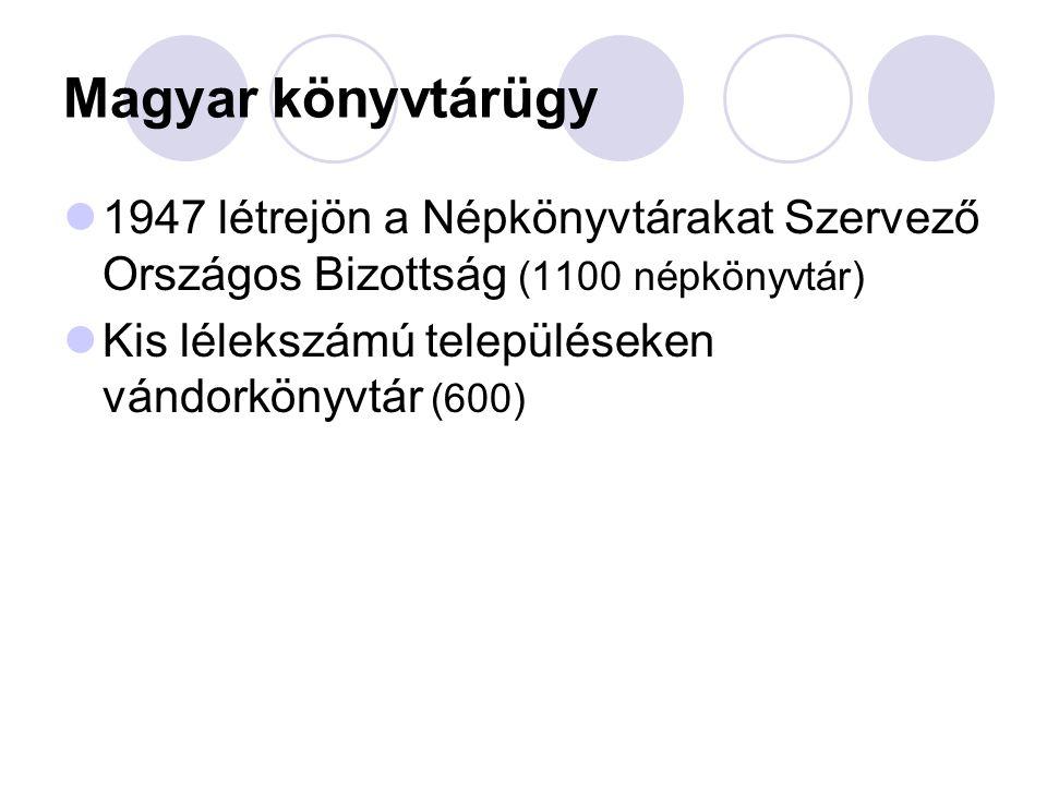 Magyar könyvtárügy 1947 létrejön a Népkönyvtárakat Szervező Országos Bizottság (1100 népkönyvtár) Kis lélekszámú településeken vándorkönyvtár (600)