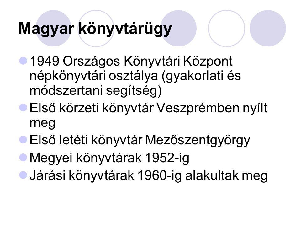 Magyar könyvtárügy 1949 Országos Könyvtári Központ népkönyvtári osztálya (gyakorlati és módszertani segítség) Első körzeti könyvtár Veszprémben nyílt