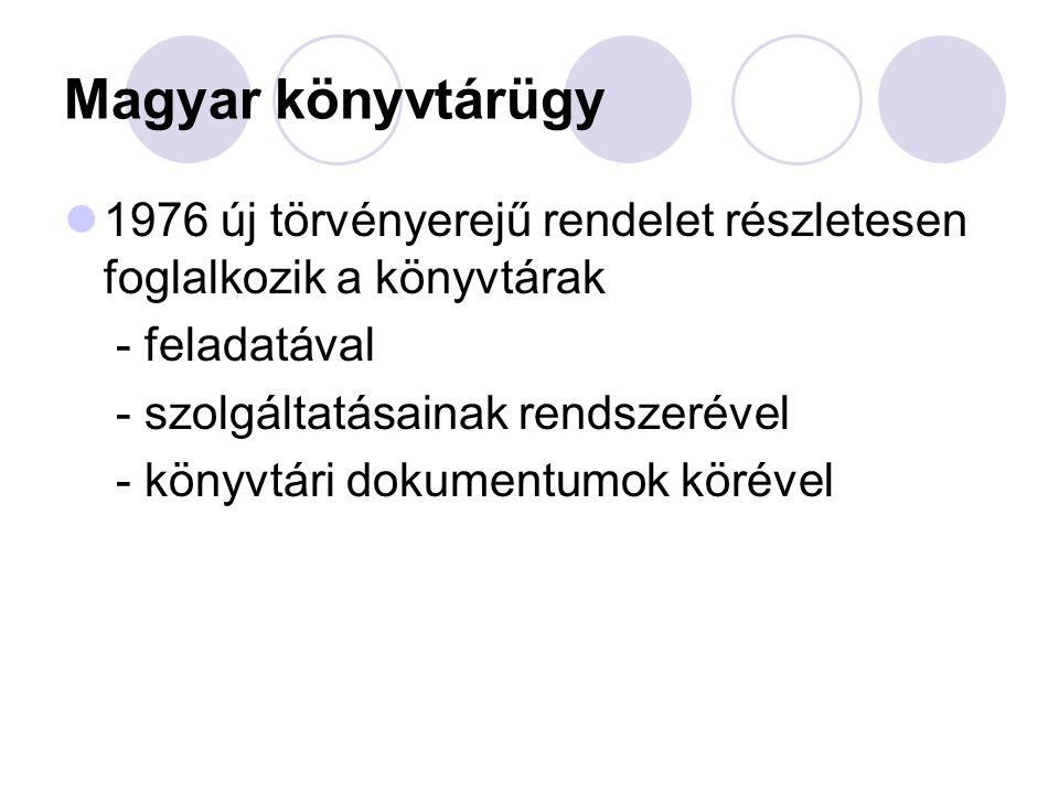 Magyar könyvtárügy 1976 új törvényerejű rendelet részletesen foglalkozik a könyvtárak - feladatával - szolgáltatásainak rendszerével - könyvtári dokum