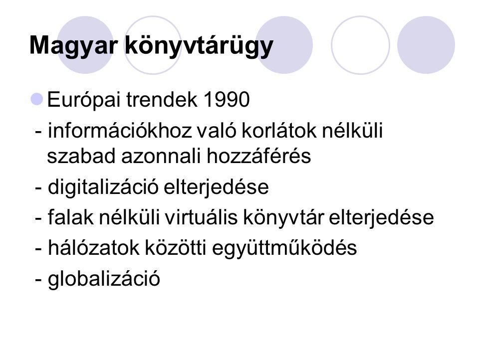 Magyar könyvtárügy Európai trendek 1990 - információkhoz való korlátok nélküli szabad azonnali hozzáférés - digitalizáció elterjedése - falak nélküli