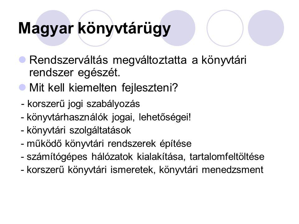 Magyar könyvtárügy Rendszerváltás megváltoztatta a könyvtári rendszer egészét. Mit kell kiemelten fejleszteni? - korszerű jogi szabályozás - könyvtárh