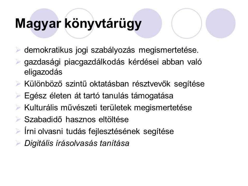 Magyar könyvtárügy  demokratikus jogi szabályozás megismertetése.  gazdasági piacgazdálkodás kérdései abban való eligazodás  Különböző szintű oktat