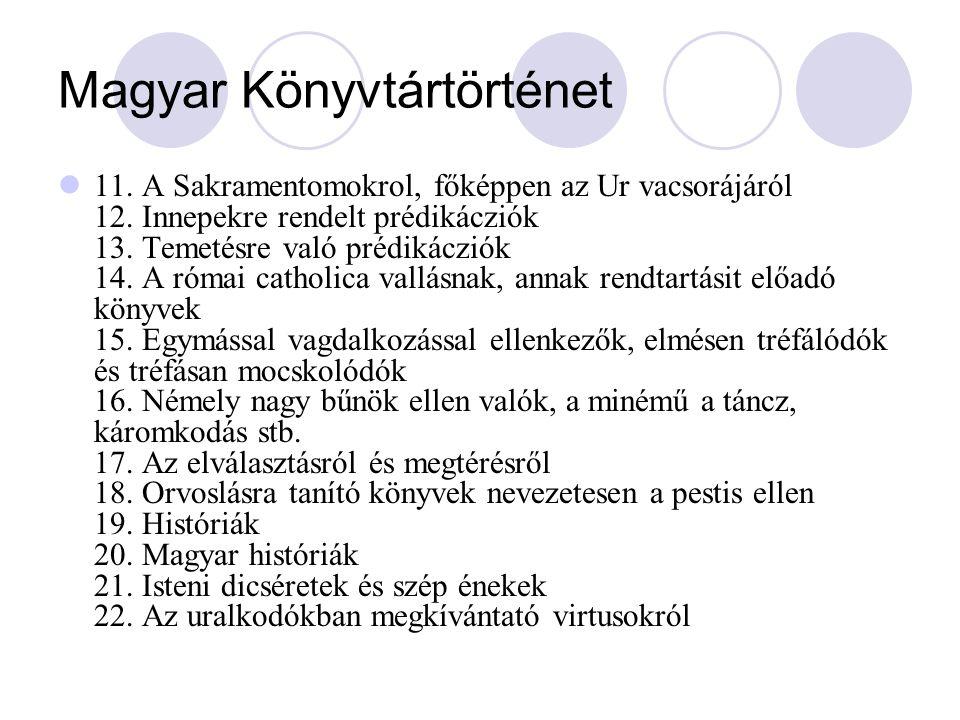 Magyar könyvtártörténet Országos Széchényi Könyvtár