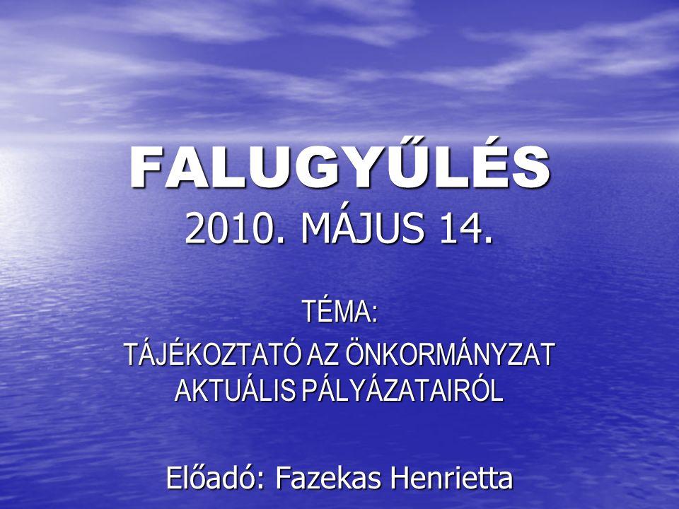 2009 ÉS 2010 ÉVEKBEN ELNYERT ÉS MEGVALÓSULT PÁLYÁZATOK TATÁRSZENTGYÖRGYÖN