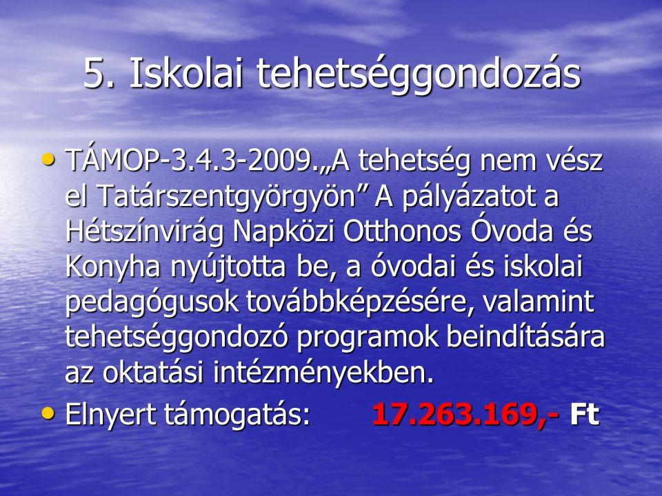 """5. Iskolai tehetséggondozás TÁMOP-3.4.3-2009.""""A tehetség nem vész el Tatárszentgyörgyön"""" A pályázatot a Hétszínvirág Napközi Otthonos Óvoda és Konyha"""