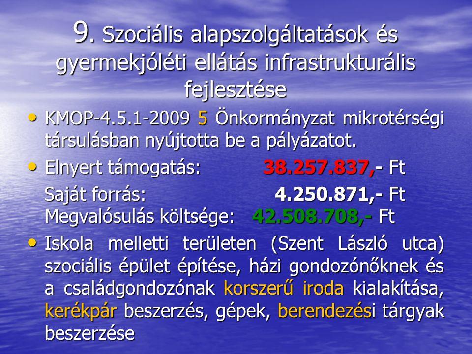 9. Szociális alapszolgáltatások és gyermekjóléti ellátás infrastrukturális fejlesztése KMOP-4.5.1-2009 5 Önkormányzat mikrotérségi társulásban nyújtot