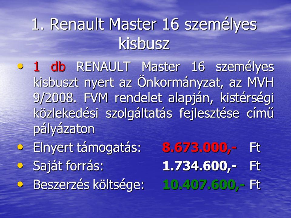 1. Renault Master 16 személyes kisbusz 1 db RENAULT Master 16 személyes kisbuszt nyert az Önkormányzat, az MVH 9/2008. FVM rendelet alapján, kistérség