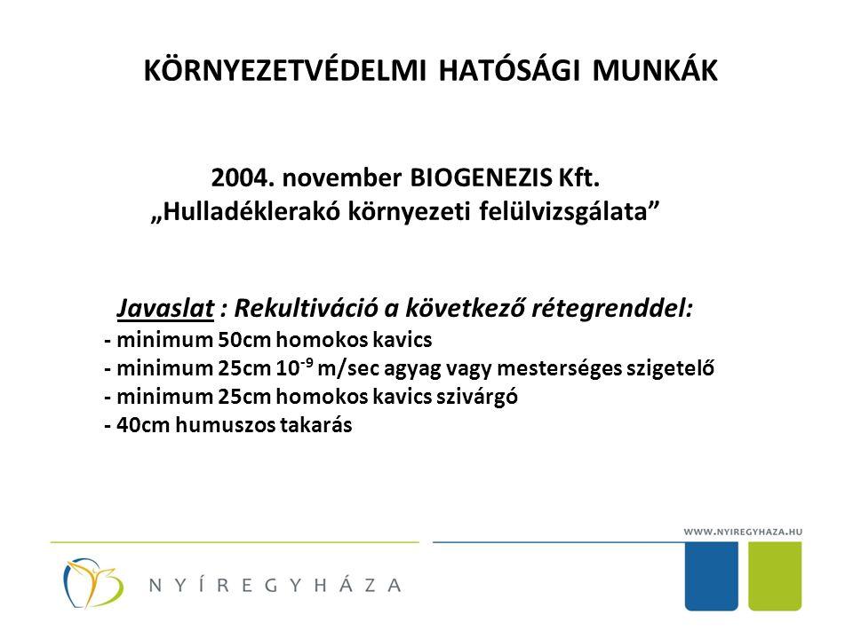 KÖRNYEZETVÉDELMI HATÓSÁGI MUNKÁK 2004. november BIOGENEZIS Kft.