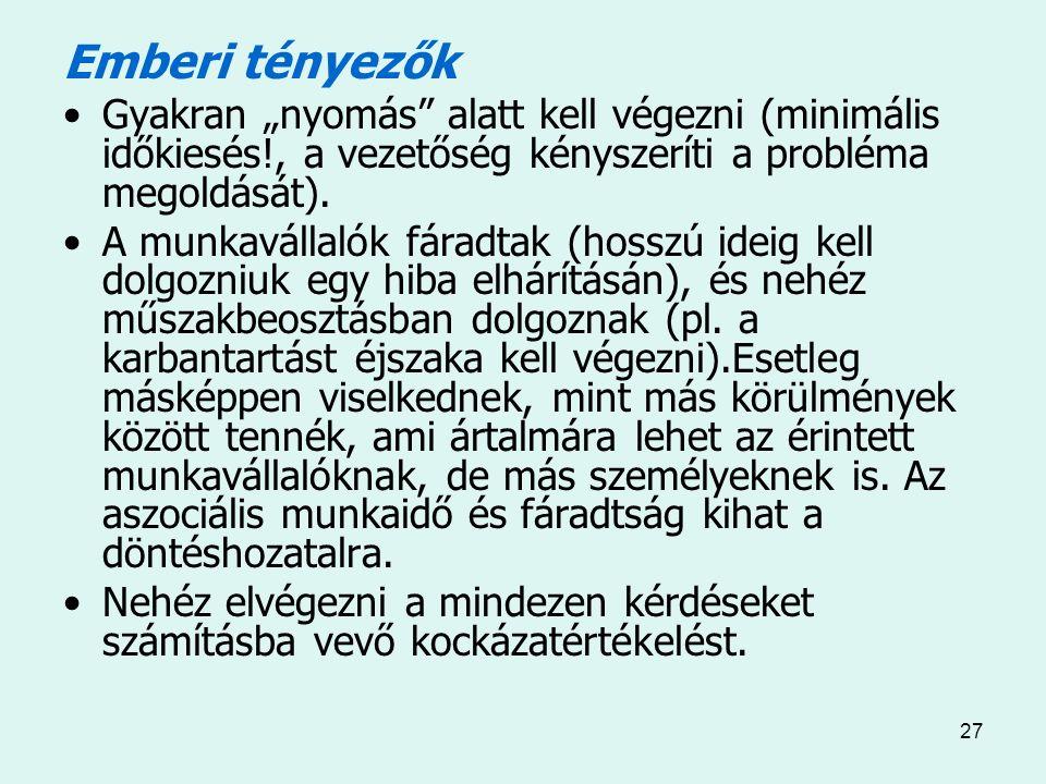 """27 Emberi tényezők Gyakran """"nyomás alatt kell végezni (minimális időkiesés!, a vezetőség kényszeríti a probléma megoldását)."""