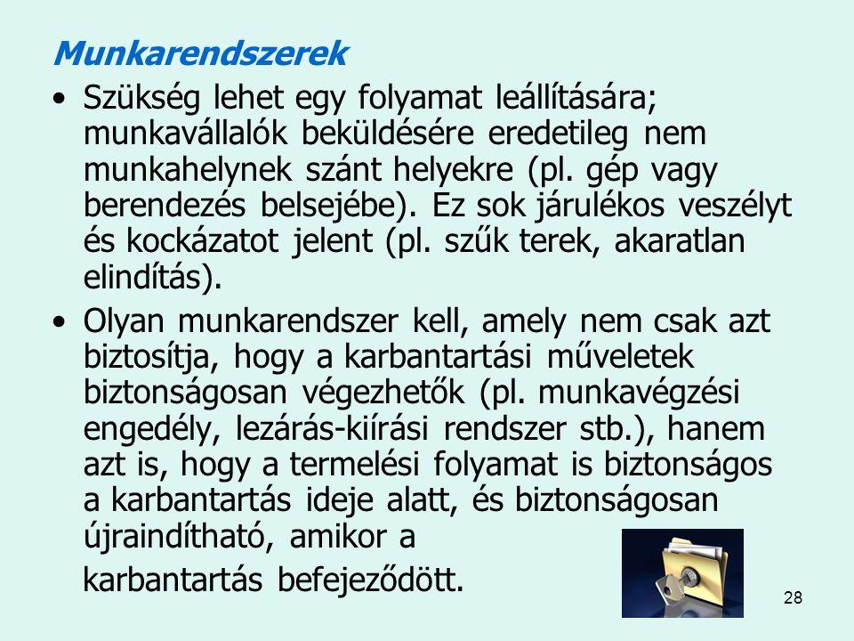28 Munkarendszerek Szükség lehet egy folyamat leállítására; munkavállalók beküldésére eredetileg nem munkahelynek szánt helyekre (pl.