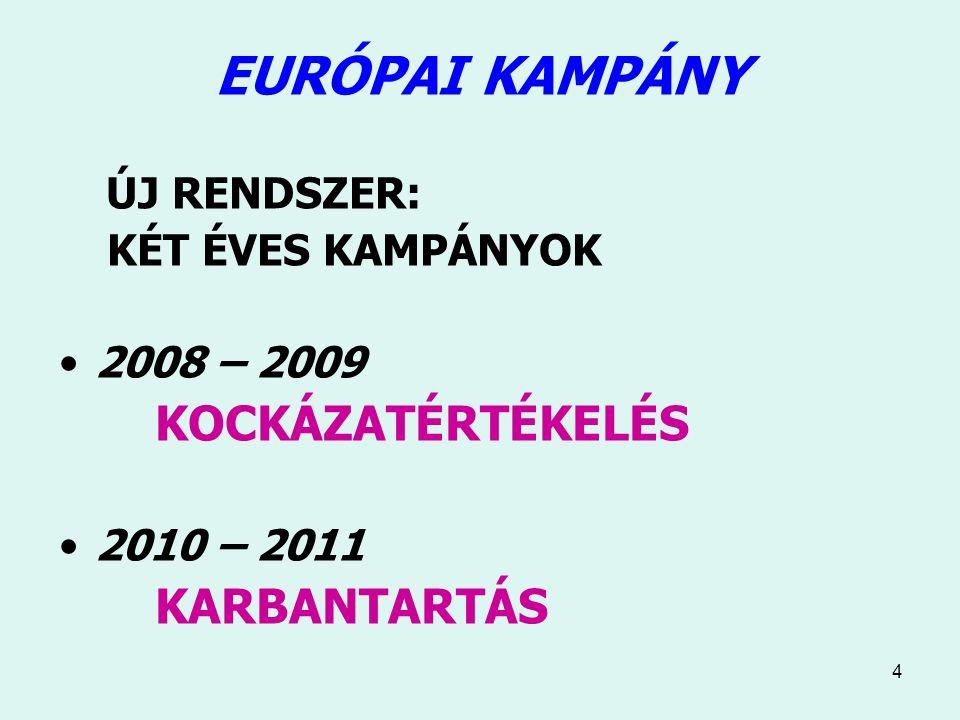 4 EURÓPAI KAMPÁNY ÚJ RENDSZER: KÉT ÉVES KAMPÁNYOK 2008 – 2009 KOCKÁZATÉRTÉKELÉS 2010 – 2011 KARBANTARTÁS