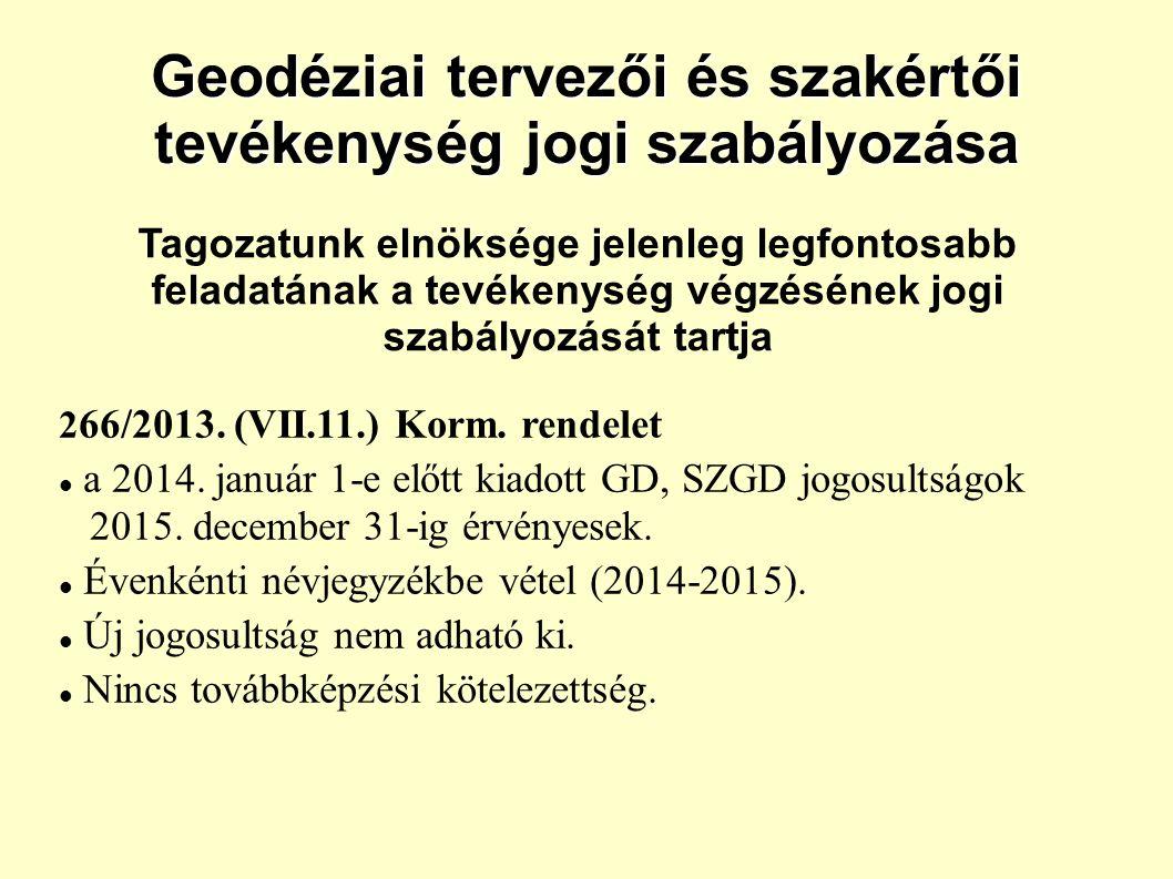 Geodéziai tervezői és szakértői tevékenység jogi szabályozása 2 66/2013.