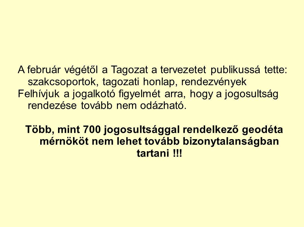 A február végétől a Tagozat a tervezetet publikussá tette: szakcsoportok, tagozati honlap, rendezvények Felhívjuk a jogalkotó figyelmét arra, hogy a jogosultság rendezése tovább nem odázható.