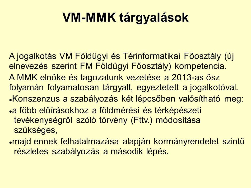 VM-MMK tárgyalások A jogalkotás VM Földügyi és Térinformatikai Főosztály (új elnevezés szerint FM Földügyi Főosztály) kompetencia.