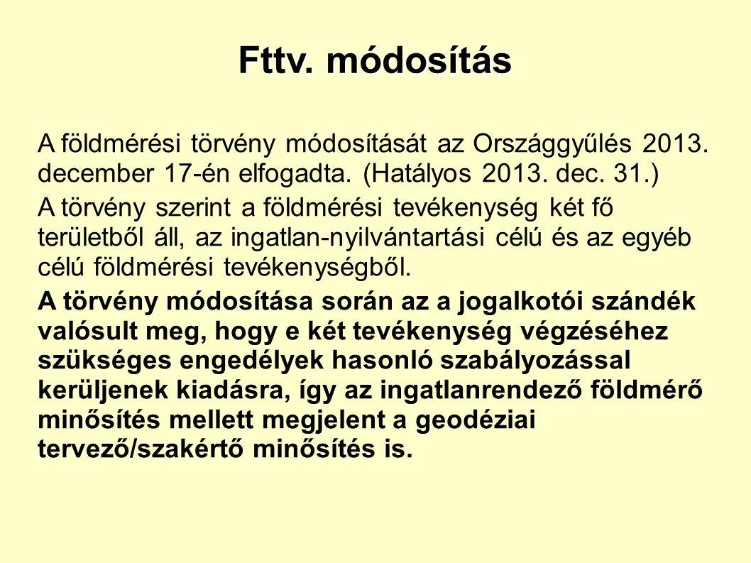 Fttv. módosítás A földmérési törvény módosítását az Országgyűlés 2013.