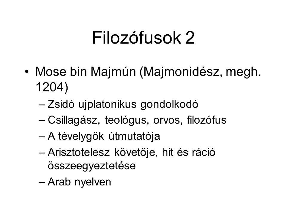 Filozófusok 2 Mose bin Majmún (Majmonidész, megh.
