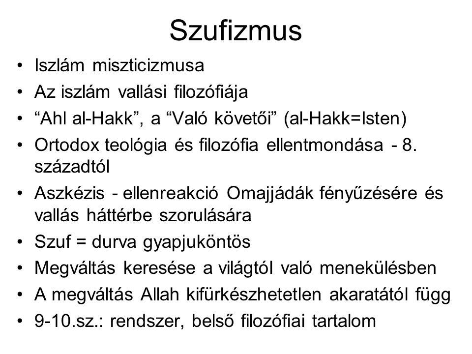 Szufizmus Iszlám miszticizmusa Az iszlám vallási filozófiája Ahl al-Hakk , a Való követői (al-Hakk=Isten) Ortodox teológia és filozófia ellentmondása - 8.