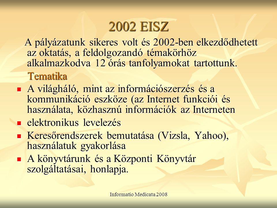 Informatio Medicata 2008 Az EISZ célja, elérhetősége, regisztráció Az EISZ célja, elérhetősége, regisztráció Kiemelt hangsúlyt helyeztünk az EISZ-ben található adatbázisok megismertetésére: Web of Science: jellemzői, mikor keresünk benne.